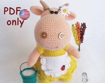 Crochet pattern - Moonica the Cow amigurumi animal (English)