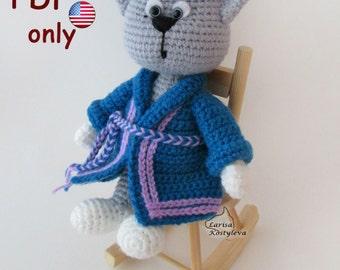 Crochet pattern - Cat in a dressing gown amigurumi animal (English)
