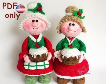 Crochet pattern - Missis Santa Claus amigurumi Christmas doll (English)