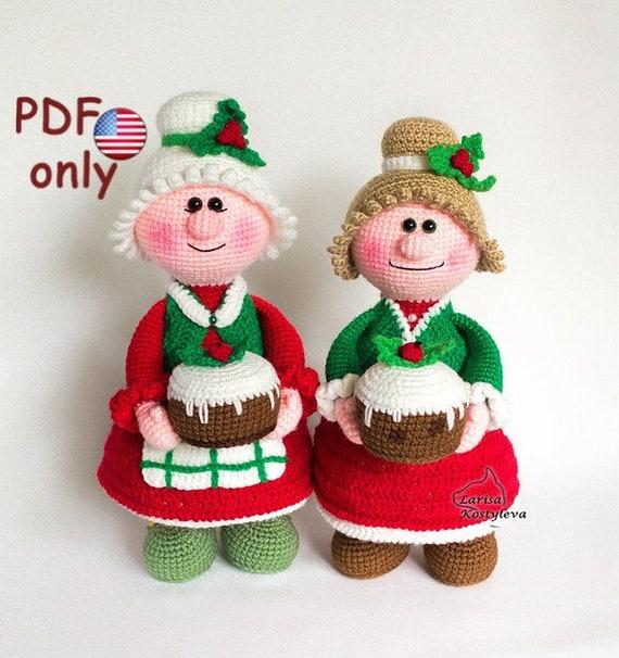 Amazon.com: Doll amigurumi: CHRISTMAS DOLL PATTERN, doll amigurumi ... | 606x570