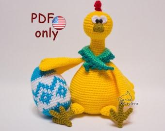 Crochet pattern - Easter Hen with Easter eggs amigurumi animal (English)