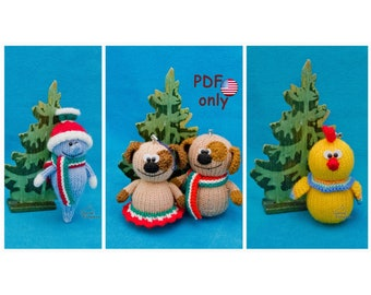 Knitting patterns - Icicle Dog Rooster Christmas decorations amigurumi toys animals 3in1 (English)