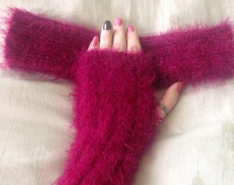 Knitted Fluffy Fingerless Gloves - Made to Order
