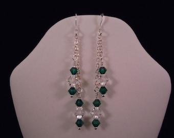 Emerald & crystal chain earrings