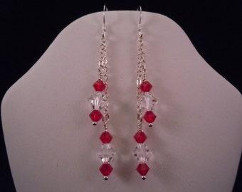 Ruby & crystal chain earrings