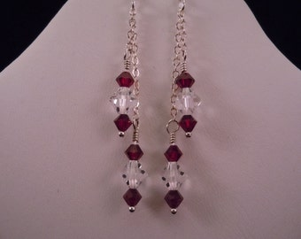 Garnet & crystal chain earrings