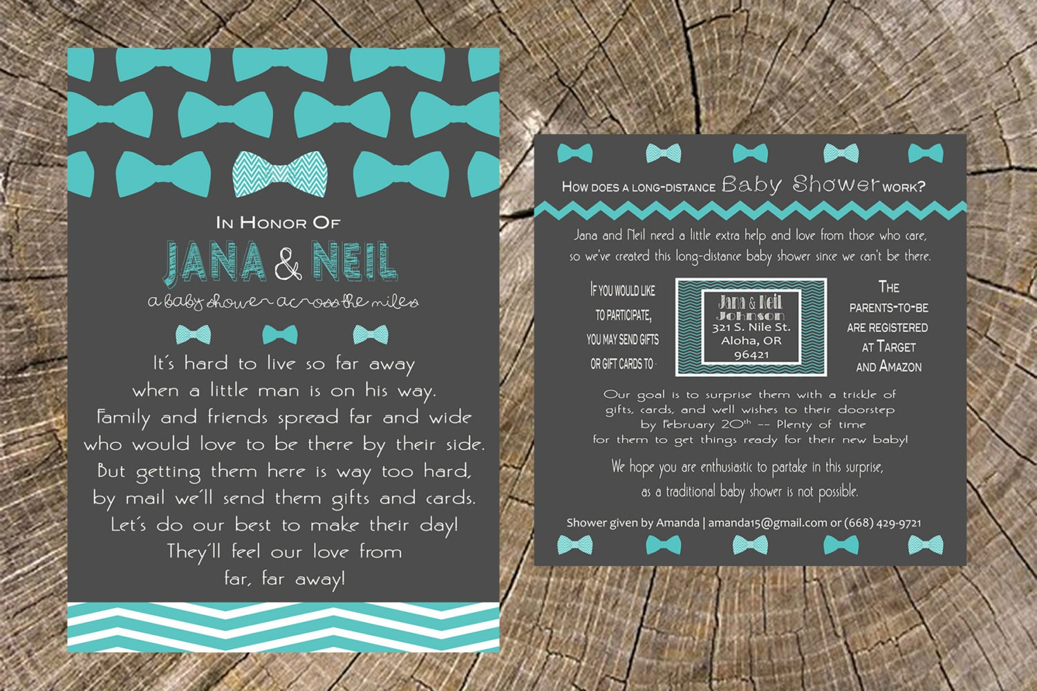 Long Distance Baby Shower Boy Bow Tie 5x7 Invitation And 5x5 Etsy