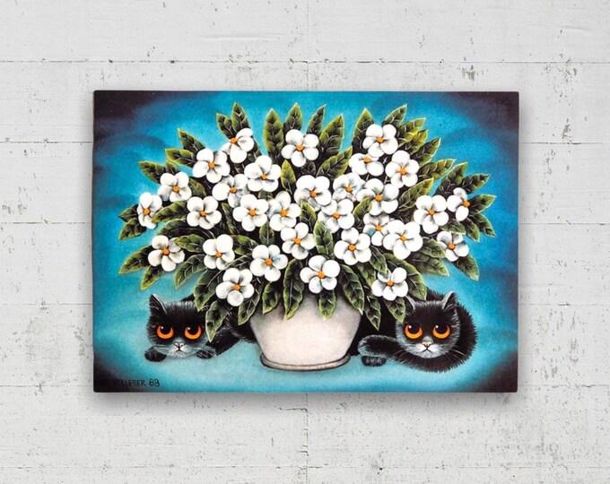 Black Cats & a Bouquet Vintage Postcard