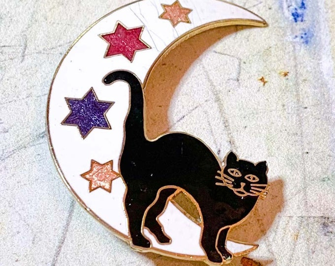 Witches Familiar 1990s Cloisonné Brooch