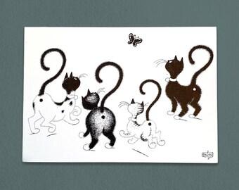Cat Butts Vintage Postcard - 1985