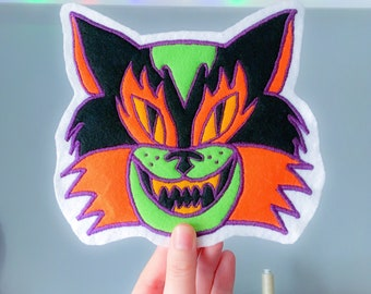 Spooky Cat Handmade Embroidered Back Patch