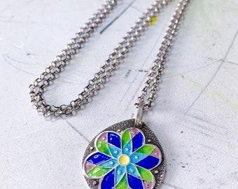 Geo Daisy Vintage Cloisonné Necklace