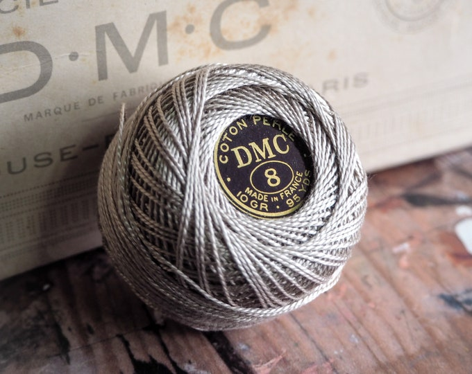 Antique 1920s DMC Pearl Cotton Thread #644 Beige Gray Med - ONE Unused 95yd BALL