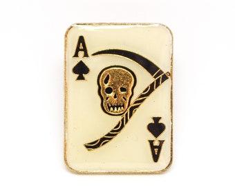 Vintage Ace of Spades Reaper Enamel Pin