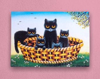 Black Cats in a Basket Vintage Postcard