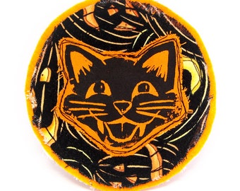 Happy Black Cat Linocut Patch - No. 2