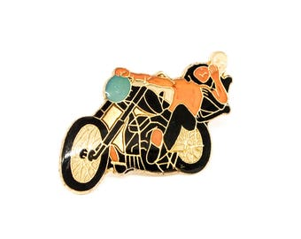 Vintage Riding With Death Enamel Pin