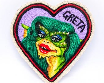 Greta Gremlin Hand Embroidered Patch Art