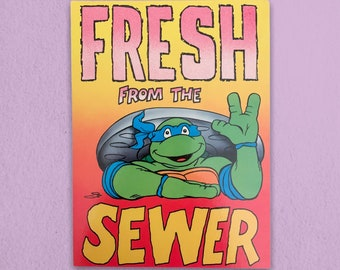 Fresh From The Sewer TMNT Vintage Postcard - 1990