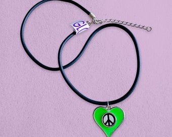Peace Symbol Heart 1990s Glow in The Dark Necklace