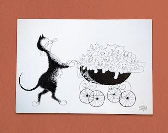 Mother Cat Vintage Postcard - 1985
