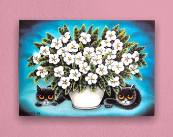 Bouquets & Black Cats Vintage Postcard