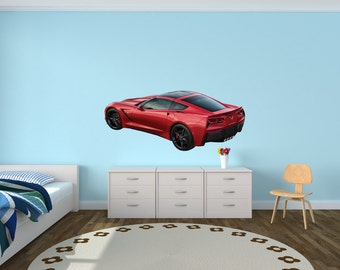 Sports Car Wall Decal, Corvette Wall Decals, Car Stickers (Red Offset Corvette) FOffsetVetteRed