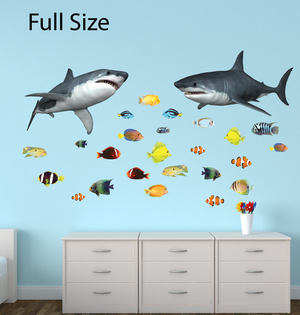 Shark Wall Decal Ocean Decals Tropical Fish Stickers Etsy
