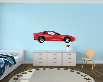 Sports Car Wall Decal, Corvette Wall Decals, Car Stickers (Red Side Corvette) FSideVetteRed