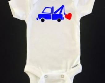 Tow truck heart onesie - Valentine's day onesie - Funny Onesie - Shower gift - baby clothes - newborn onesie