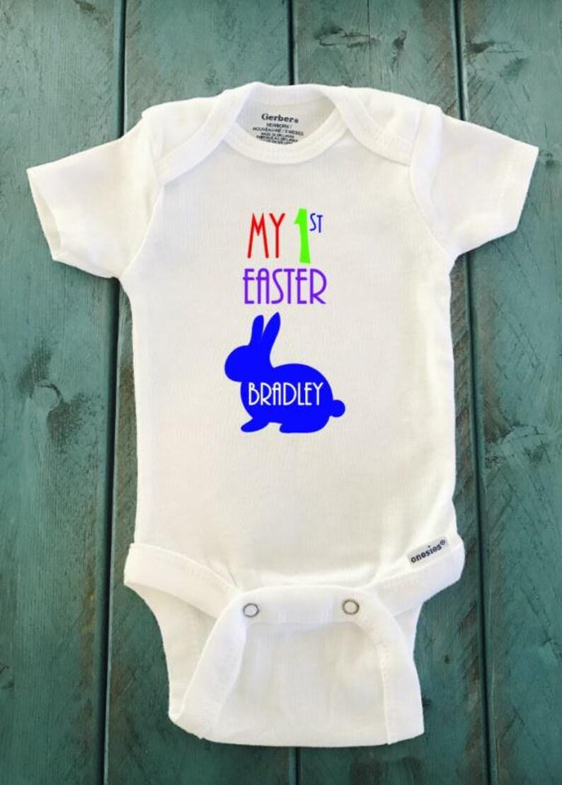 blue bunny onesie Easter outfit Custom My First Easter bunny rabbit onesie \u00ae brand Gerber Onesie Bodysuit