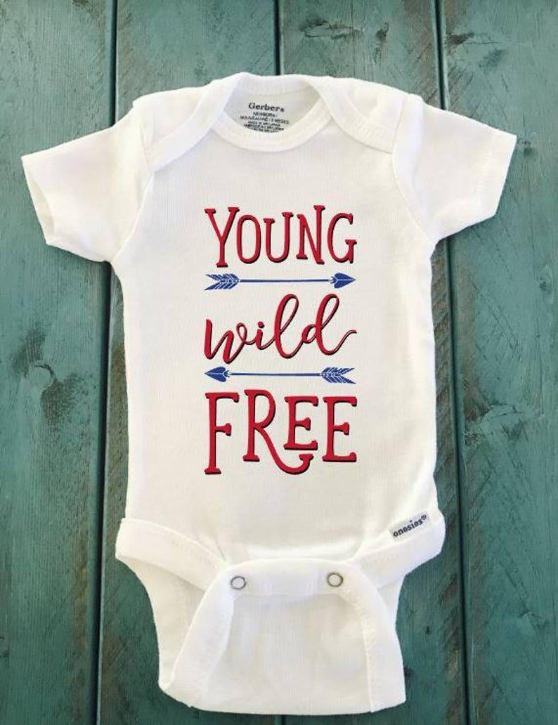 Funny Onesie newborn onesie baby clothes Young Wild and Free ONESIE \u00ae brand Gerber Onesie Bodysuit American onesie Shower gift