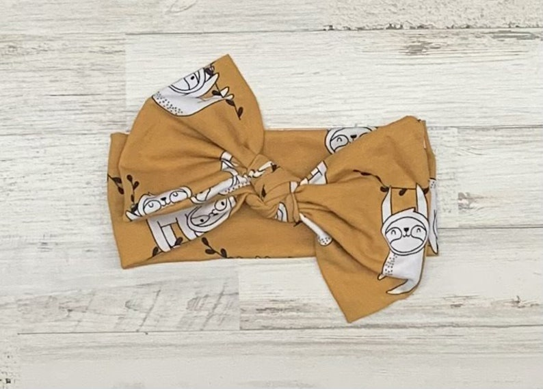 women hair accessories toddler infant children Sloth Headwrap Sloth Headband Fabric bow