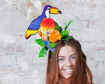 Purple Toucan Headpiece, with Day-Glo Flower and Fold-Away Body