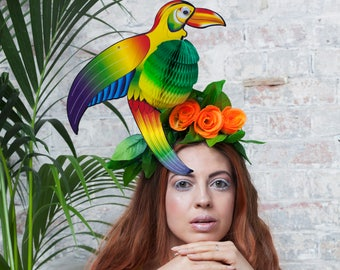 Green Tropical Parrot Headpiece, with Day-Glo Flowers and Fold-Away Body