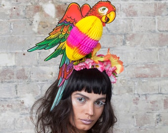 Tropical Parrot Headpiece with Fold-Away Body