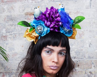 Disco Bird's Nest Festival Flower Crown