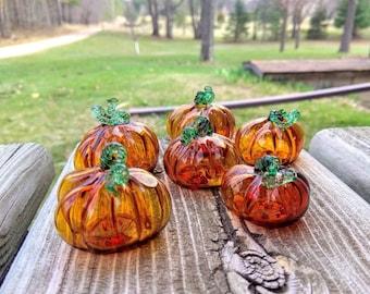 Hand blown tiny glass pumpkin