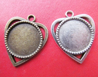 4 Blank Cabochon Settings Antique Silver Tone Spacer 18mm Tray 2 Sided Z494