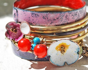 set of enameled bangles copper and vitreous enamel PASTELOVE wedding perfect Mother/'s Day idea gift for her original handmade gift