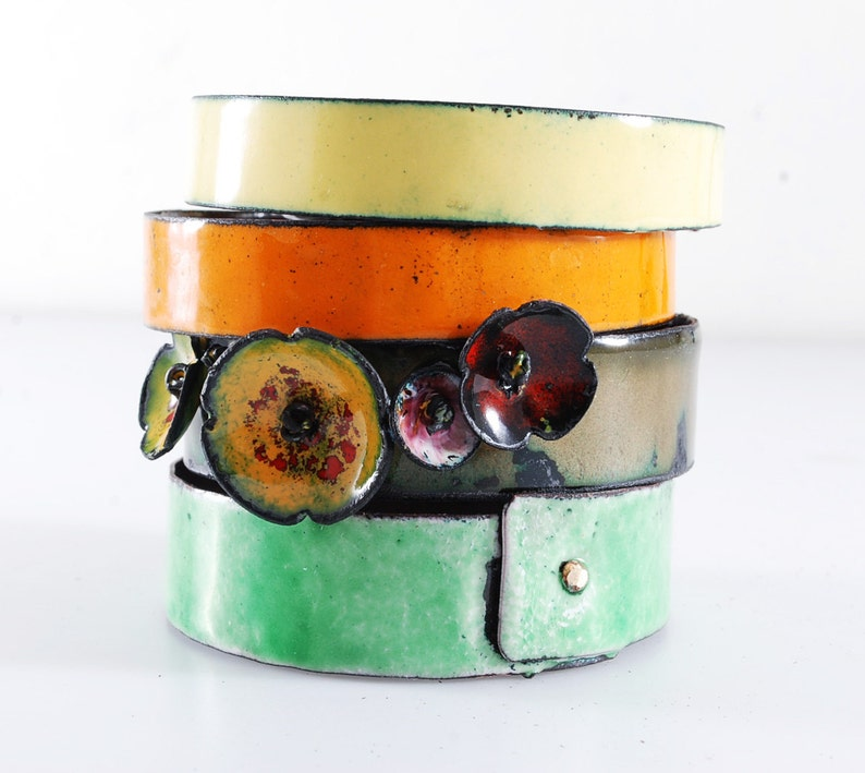 original handmade gift perfect Mother/'s Day idea gift for her MEADOW set of enameled bangles wedding copper and vitreous enamel
