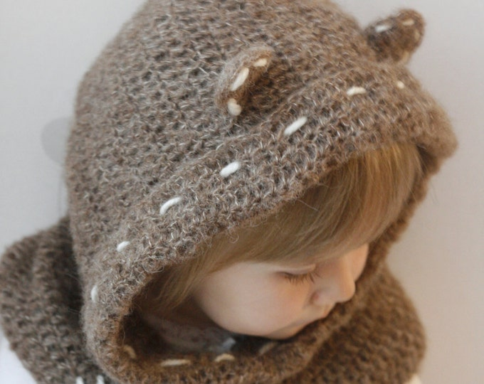 CROCHET PATTERN teddy bear hooded cowl Tom (baby/toddler/child/adult sizes)
