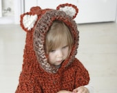 CROCHET PATTERN fox hooded chunky poncho Max
