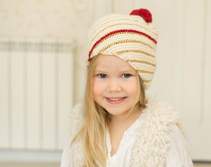 KNITTING PATTERN striped hat Angela with a pom-pom (toddler/child/adult sizes)