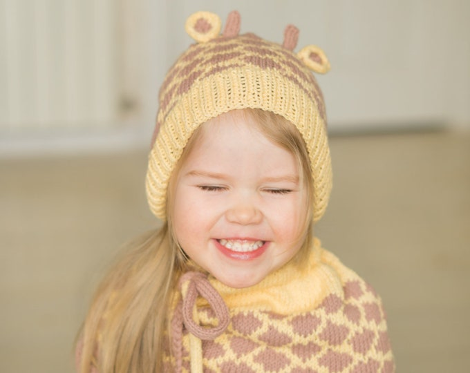 KNITTING PATTERN Giraffe hat and cowl set (baby, toddler, child sizes)