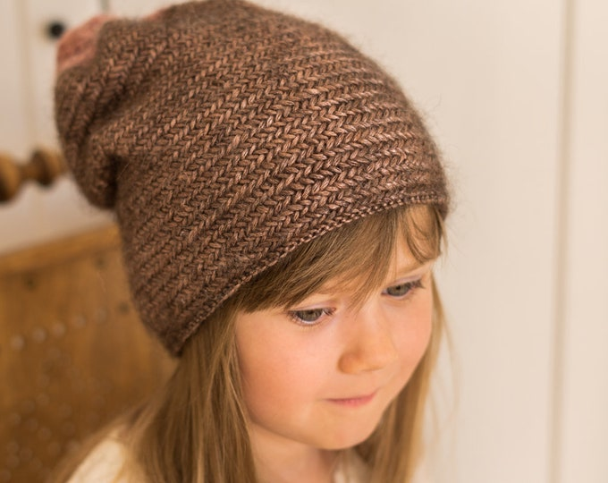 KNITTING PATTERN herringbone slouch hat Abigail (toddler /child/ woman sizes)