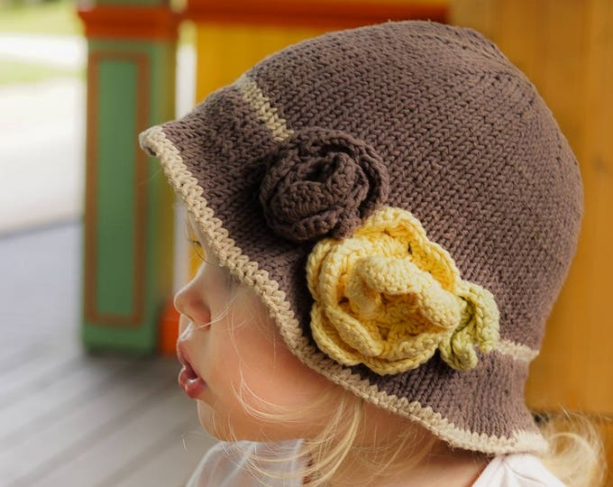 KNITTING PATTERN brim hat Pauletta with crochet flowers and leaves (baby, toddler, child, adult woman sizes)