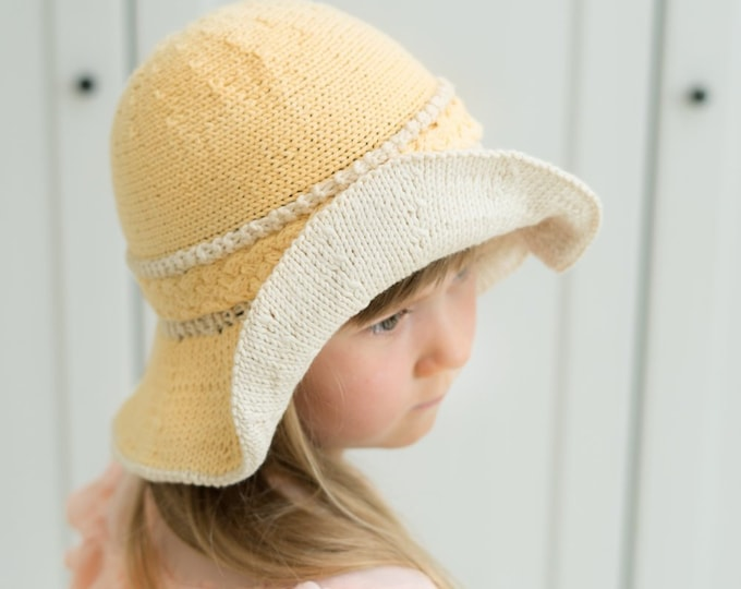 KNITTING PATTERN brimmed cable summer hat Harriet (baby, toddler, child, woman sizes)