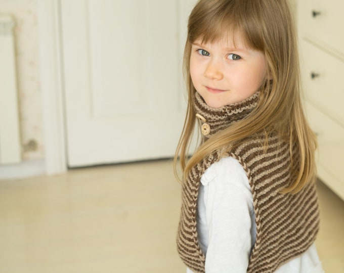KNITTING PATTERN striped cowl vest Charli (toddler and kids sizes)