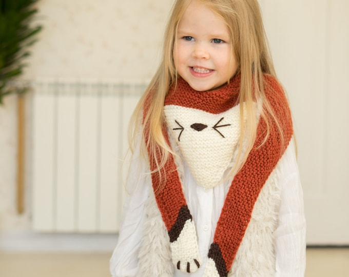 KNITTING PATTERN fox, cat, wolf scarf Ginger (kids size)